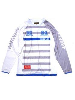 画像1: ボーダーロングスリーブプラシャツ/ホワイト