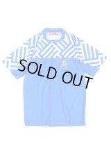 ジオメトリックプラシャツ/ブルー