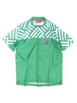ジオメトリックプラシャツ/グリーン